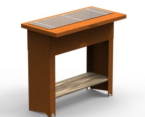 FACKLA BBQ Tafel, sta tafel met opbergruimte onder. Deze sta tafel is op maat gemaakt. Voor uw eigen maatwerk bbq, vraag naar de mogelijkheden. Cortenstalen bbq, metaal design voor in de tuin. Cortenstaal duurzame roest. Voor de echte grill master.