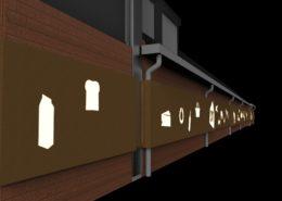"""Maatwerk gevelbekleding Albert Heijn """"Abe Brouwer"""" Havelte. Cortenstalen beplating met iconen van producten en elementen uit de regio. Visueel aantrekkelijk overdag en 's avonds. 's Avonds is de gevel verlicht. www.ah.nl"""